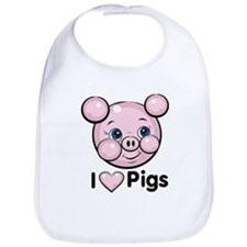 I Love Pink Heart Pigs Cute Bib