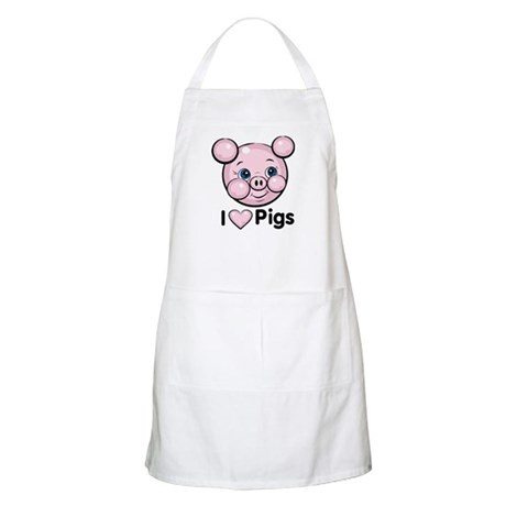 I Love Pink Heart Pigs Cute BBQ Apron
