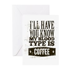 Blood Type Coffee Greeting Cards (Pk of 10)