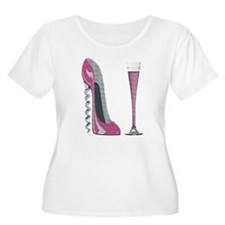 Pink Sparkle Corkscrew Stiletto and Champagne Flut