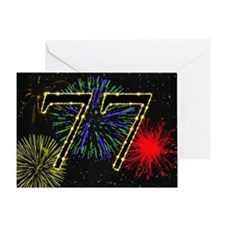 77th birthday with fireworks Greeting Card