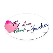 Cute Truckers wife Oval Car Magnet
