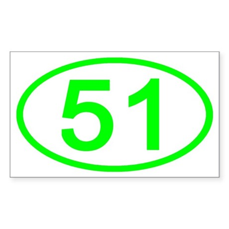 Green Gifts > Green Stickers > Number 51 Oval Rectangle Sticker