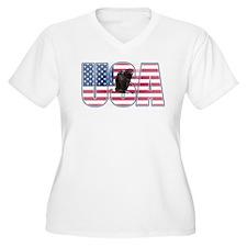 U.S.A. With Flag & Eagle Plus Size T-Shirt