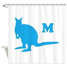 Custom Letter. Blue Wallaby. Shower Curtain