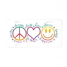 Peace Love Laugh Aluminum License Plate