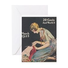 Woman, Seamstress, Vintage Poster Greeting Card