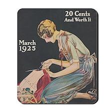 Woman, Seamstress, Vintage Poster Mousepad