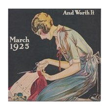 Woman, Seamstress, Vintage Poster Tile Coaster