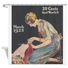 Woman, Seamstress, Vintage Poster Shower Curtain