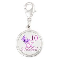 Fabulous 10th Birthday Silver Round Charm