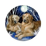Golden Retriever Dogs Winter Ornament (Round)