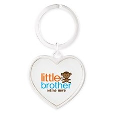 Personalized Monkey Little Brother Heart Keychain