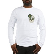 Green Flower Skull Long Sleeve T-Shirt