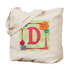 Tropical Art Monogram Tote Letter D Tote Bag