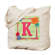 Tropical Art Monogram Tote Letter K Tote Bag