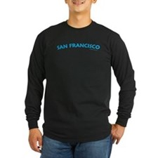 San Francisco (Aqua) - Lng Sleeve Black T-Shirt