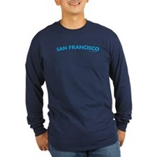 San Francisco (Aqua) - Lng Sleeve Navy T-Shirt