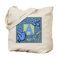 Sweet Tweet Bluebirds Monogram Letter A Tote Bag