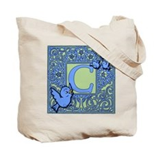 Sweet Tweet Bluebirds Monogram Letter C Tote Bag