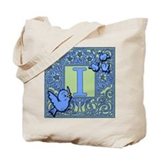 Sweet Tweet Bluebirds Monogram Letter I Tote Bag