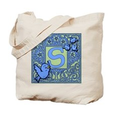 Sweet Tweet Bluebirds Monogram Letter S Tote Bag