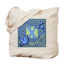 Sweet Tweet Bluebirds Monogram Letter X Tote Bag