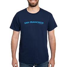 San Francisco (Aqua) - Navy T-Shirt