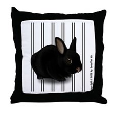 Black Bunny Throw Pillow