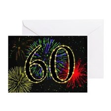 60th birthday with fireworks Greeting Cards 10 Pk