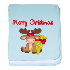 Merry Christmas with moose baby blanket