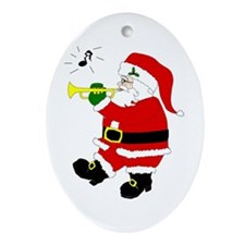 Santa Plays Trumpet Christmas Oval Ornament