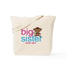 Personalized Big Sister Monkey Tote Bag