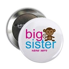"Personalized Big Sister Monkey 2.25"" Button"