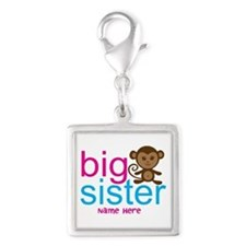 Personalized Big Sister Monkey Silver Square Charm