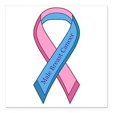 Male Breast Cancer Awareness Ribbon Square Car Mag