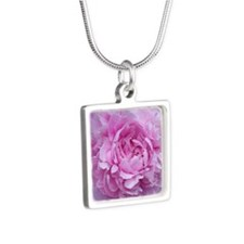 Pink Peony Flower Silver Square Necklace