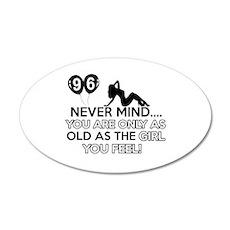 96th year old birthday designs 35x21 Oval Wall Dec