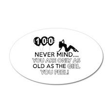 100th year old birthday designs 20x12 Oval Wall De