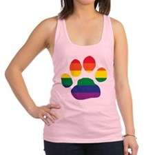 Gay Pride Rainbow Paw Print Racerback Tank Top