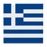 Greek Flag Tile Coaster