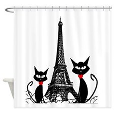 Cats Eiffel Tower Pillow Shower Curtain