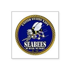 USN Seabees Gold Roped Sticker