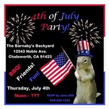 Cute July 4th Squirrel Party Invitations