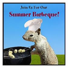 Cute BBQing Squirrel Summer Party Invitation