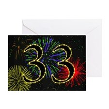 33rd birthday with fireworks Greeting Card