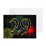 29th birthday with fireworks Greeting Cards (Pk of