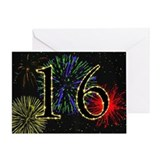 16th birthday with fireworks Greeting Card