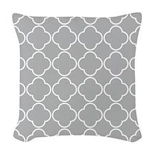 Light Gray Quatrefoil Clover Pattern Woven Throw P