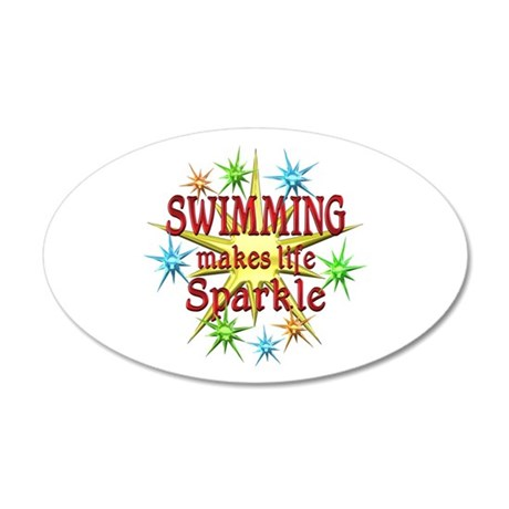 Swimming Sparkles 35x21 Oval Wall Decal
